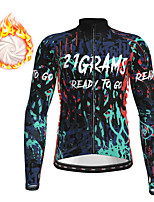 cheap -21Grams Men's Long Sleeve Cycling Jacket Winter Fleece Red Green Bike Jacket Top Mountain Bike MTB Road Bike Cycling Fleece Lining Warm Sports Clothing Apparel / Micro-elastic