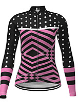 cheap -21Grams Women's Long Sleeve Cycling Jersey Winter Polyester Black Polka Dot Bike Jersey Top Mountain Bike MTB Road Bike Cycling Quick Dry Back Pocket Sports Clothing Apparel / Micro-elastic