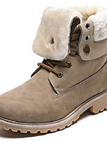 cheap -women's round toe waterproof outdoor lace up work combat ankle bootie fur lined warm winter snow boots khaki us size 6
