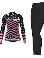 cheap -21Grams Women's Long Sleeve Cycling Jersey with Tights Winter Polyester Black Polka Dot Bike Jersey Tights Clothing Suit Breathable Quick Dry Moisture Wicking Back Pocket Sports Polka Dot Mountain
