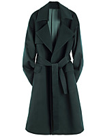 cheap -Women's Fall & Winter Coat Long Solid Colored Daily Basic Green S M L XL