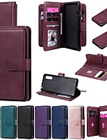 cheap -Case For Sony Xperia L4 Xperia 1 II Xperia 10 II Max Wallet Card Holder with Stand Full Body Cases Solid Colored PU Leather TPU for Sony Xperia 5 Xperia 8
