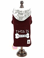 cheap -small dog bone knitted fleece lined hoodie coat, red, l