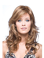 cheap -Synthetic Wig Curly Asymmetrical With Bangs Wig Long Brown Synthetic Hair Women's Fashionable Design Exquisite Fluffy Brown