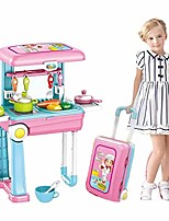 cheap -toys&gift 2 in 1 toy playset travel trolley case w/ extended handle carrying case , light , sound & accessories , play set (unisex kitchen /doctor/dresser/ artisan/craftsman set) (chef)