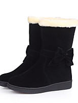 cheap -Women's Boots Flat Heel Round Toe Casual Basic Daily Solid Colored PU Mid-Calf Boots Walking Shoes Camel / Wine / Black / Snow Boots
