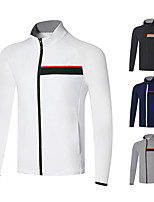 cheap -Men's Golf Jacket Long Sleeve Autumn / Fall Spring Winter UV Sun Protection Breathable Quick Dry Cotton Solid Color White Black Dark Blue Gray / Stretchy