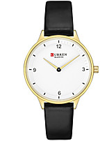 cheap -CURREN Women's Quartz Watches Quartz Formal Style Modern Style Minimalist Water Resistant / Waterproof Genuine Leather Black / Red / Blushing Pink Analog - Rose Gold Black Red One Year Battery Life