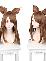 cheap -Cosplay Cosplay Cosplay Wigs Women's Side bangs 75 inch Heat Resistant Fiber Matte Brown Adults' Anime Wig