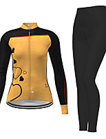cheap -21Grams Women's Long Sleeve Cycling Jersey with Tights Winter Polyester Black / Yellow Red Fuchsia Novelty Bike Jersey Tights Clothing Suit Breathable Quick Dry Moisture Wicking Back Pocket Sports