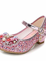 cheap -little girls ballet mary jane flats sparkle bowknot ballerina wedding party princess dress shoes pink-1 3 m us little kid