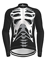 cheap -Men's Long Sleeve Cycling Jersey Black Novelty Skull Bike Jersey Top Mountain Bike MTB Road Bike Cycling Quick Dry Sports Clothing Apparel / Micro-elastic