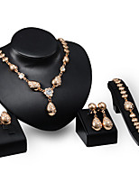 cheap -Men's Clear Synthetic Diamond Bridal Jewelry Sets Simple Basic Elegant Earrings Jewelry Gold For Wedding Engagement 1 set