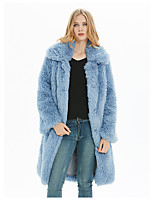 cheap -Women's Fall & Winter Coat Long Solid Colored Daily Basic Faux Fur White Blue Yellow Blushing Pink S M L XL