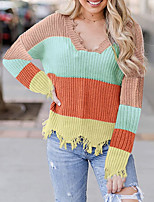 cheap -Women's Stylish Knitted Striped Pullover Long Sleeve Loose Sweater Cardigans V Neck Fall Winter Blue Orange Khaki