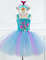 cheap -Mermaid Dress Girls' Movie Cosplay Vacation Dress New Year's Purple / Blue / Pink Dress Headwear Christmas Halloween Carnival Polyester / Cotton Polyester
