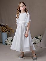 cheap -A-Line Jewel Neck Floor Length Chiffon Junior Bridesmaid Dress with Ruffles