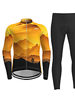 cheap -Men's Long Sleeve Cycling Jersey with Tights Black / Yellow Novelty Bike Breathable Quick Dry Moisture Wicking Sports Novelty Mountain Bike MTB Road Bike Cycling Clothing Apparel / Micro-elastic