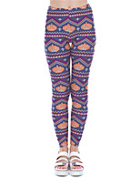 cheap -Women's Sporty Yoga Comfort Plus Size Skinny Halloween Leggings Pants Print Ankle-Length High Waist Purple