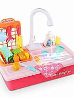 cheap -kitchen sink toy pretend food - wash up kitchen sets with running water for kids playhouse accessories indoor outdoor playset for boys girls toddler (red)
