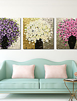 cheap -Oil Painting Hand Painted - Abstract Floral / Botanical Comtemporary Modern Rolled Canvas (No Frame) / Three Panels
