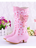 cheap -Girls' Boots Princess Shoes PU Little Kids(4-7ys) Walking Shoes Purple / Pink Fall / Winter / Knee High Boots