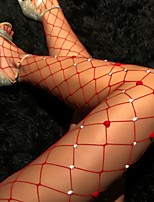 cheap -Women's Thin Stockings - Heart / Transparent / Sexy Lady 10D Red One-Size