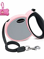 cheap -retractable dog leash pink - 10ft dog cat leashs for small medium breeds up to 35lbs with waste bags dispenser, 360° tangle-free, one button release and lock
