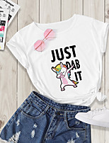 cheap -Women's Going out T-shirt Animal Cartoon Letter Print Round Neck Tops Basic Basic Top White