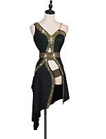 cheap -Latin Dance Dress Sashes / Ribbons Split Joint Crystals / Rhinestones Women's Training Sleeveless High Chinlon