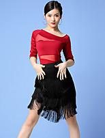 cheap -Latin Dance Skirts Tassel Split Joint Tiered Women's Training Performance Half Sleeve Natural Mesh Milk Fiber