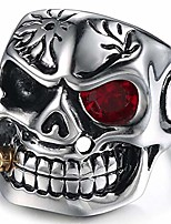 cheap -vintage stainless steel gothic skull smoking bullet biker cocktail party ring (red stone, 5)