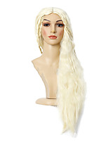 cheap -Synthetic Wig Daenerys Targaryen Game of Thrones Curly Middle Part Wig Very Long Light Blonde Synthetic Hair 30 inch Women's Anime Cosplay Middle Part Bob Blonde