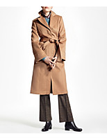 cheap -Women's Fall & Winter Shirt Collar Coat Long Solid Colored Daily Basic Camel XS S M L