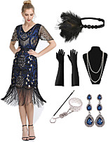 cheap -The Great Gatsby Vintage 1920s Flapper Dress Outfits Masquerade Women's Tassel Fringe Costume Blue Vintage Cosplay Party Prom / Gloves / Headwear / Necklace / Bracelets & Bangles / Earrings
