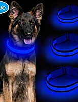 cheap -collar for dogs, usb rechargeable led dog collar adjustable nylon light up collars pet night safety, 3 colors & 3 flashing collar for large dogs