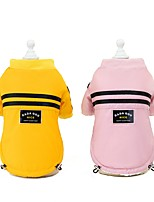 cheap -Dog Cat Coat Jacket Solid Colored Casual / Daily Winter Dog Clothes Yellow Pink Costume Polyester S M L XL XXL