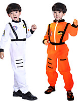 cheap -Astronaut Cosplay Costume Outfits Kid's Boys' Cosplay Halloween Halloween Festival / Holiday Polyester White / Orange Easy Carnival Costumes / Leotard / Onesie / Suspenders / Leotard / Onesie