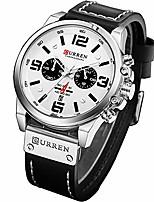 cheap -military watches for men men's leather strap analog quartz wristwatch fashion sport watch for men chronograph date  (black silver white)