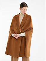 cheap -Women's Fall & Winter Double Breasted Cloak / Capes Regular Solid Colored Daily Basic Brown S M L XL / Slim