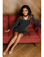 cheap -Women's Sheath Dress Short Mini Dress - Long Sleeve Solid Color Mesh Spring Fall V Neck Sexy Slim 2020 Black M L XL XXL 3XL