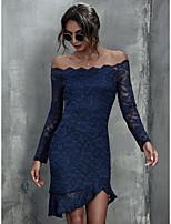 cheap -Women's Sheath Dress Short Mini Dress - Long Sleeve Solid Color Lace Ruffle Patchwork Summer Off Shoulder Sexy Slim 2020 Black Red Navy Blue S M L XL