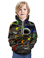 cheap -Kids Boys' Active Basic Geometric 3D Graphic Print Long Sleeve Hoodie & Sweatshirt Dark Gray