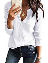 cheap -womens v neck shirts long sleeve waffle knit loose fitting warm tee tops