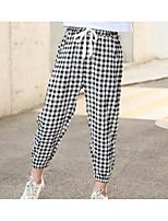 cheap -Kids Girls' Basic Black & White Check Pants White