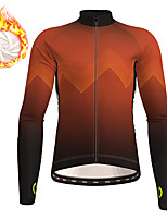 cheap -21Grams Men's Long Sleeve Cycling Jersey Winter Fleece Polyester Black Red Blue Gradient Geometic Bike Jersey Top Mountain Bike MTB Road Bike Cycling Thermal Warm Fleece Lining Breathable Sports