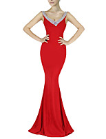 cheap -Mermaid / Trumpet Elegant Sexy Party Wear Formal Evening Dress V Neck Sleeveless Floor Length Spandex with Pleats Crystals 2020