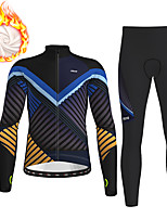 cheap -21Grams Men's Long Sleeve Cycling Jersey with Tights Winter Fleece Polyester Black / Yellow Blue Green Stripes Gradient Geometic Bike Clothing Suit Thermal Warm Fleece Lining Breathable 3D Pad Warm