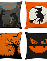 "cheap -Halloween Party Halloween Decor Horror Ghost Set of 4 Black and red with halloween  Linen Square Decorative Throw Pillow Cases Sofa Cushion Covers 18""x18"""