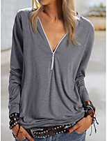 cheap -Women's T-shirt Solid Colored Long Sleeve Patchwork V Neck Tops Loose Basic Basic Top Blue Purple Khaki